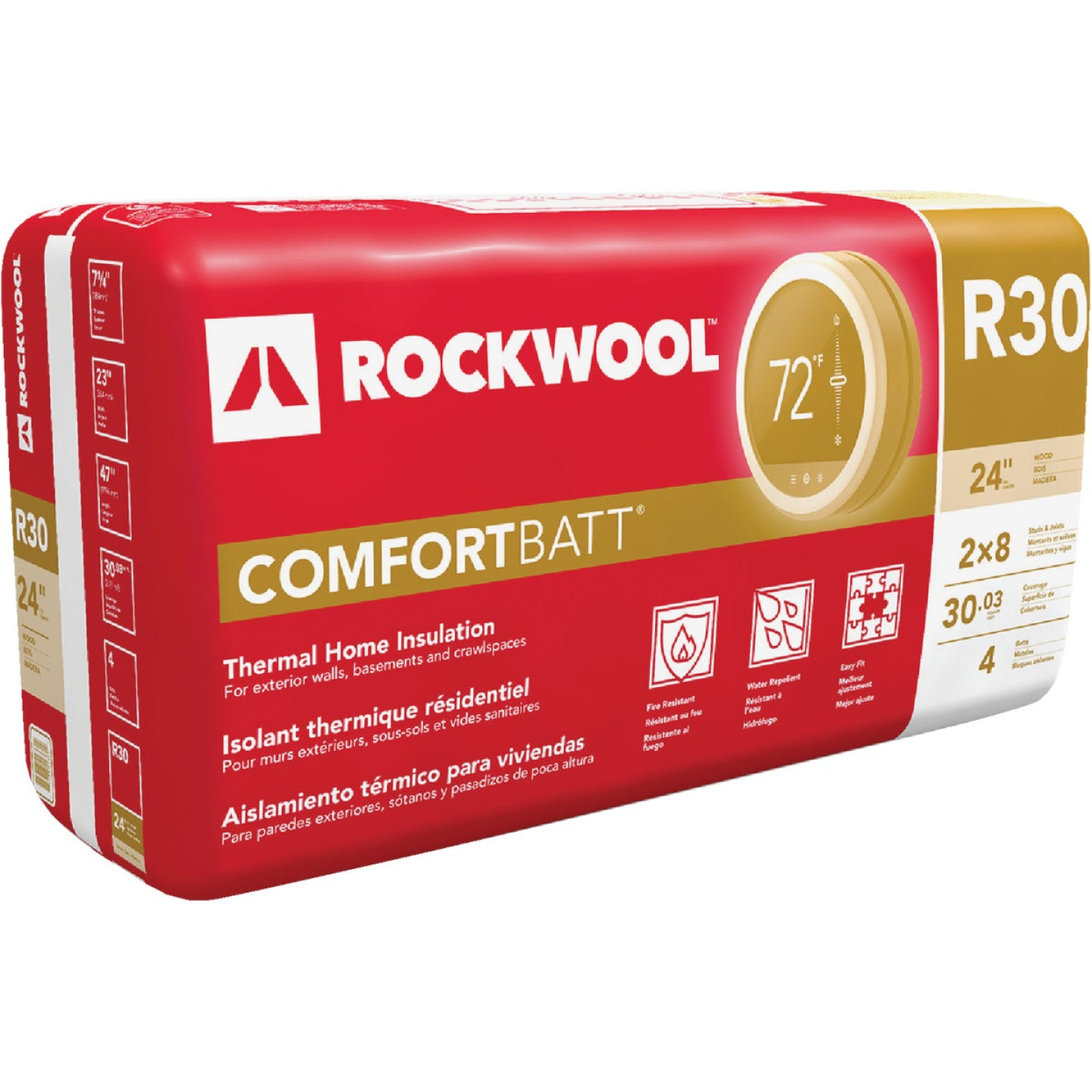 Rockwool Comfortbatt R-30 24 In. x 47 In. Stone Wool Insulation (4-Pack) Image 1