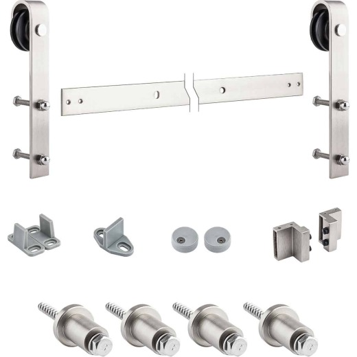 National Satin Nickel Steel Up to 200 Lb. Barn Door Hardware Kit