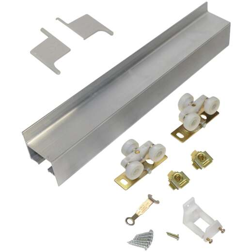 Johnson Hardware Mill Aluminum Steel Wall Mount Barn Door Hardware Kit