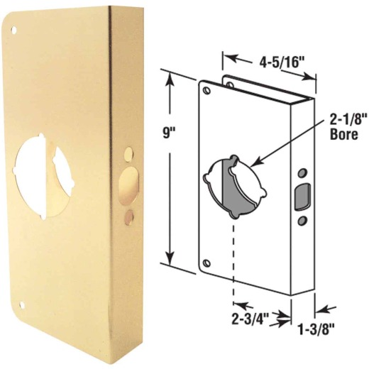 Defender Security 1-3/8 In. x 2-3/4 In. Brass Door Reinforcer