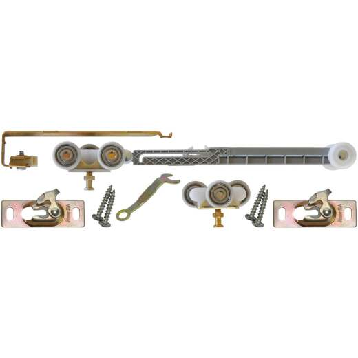 Johnson Hardware Mill Aluminum Steel Soft Close Barn Door Hardware Kit