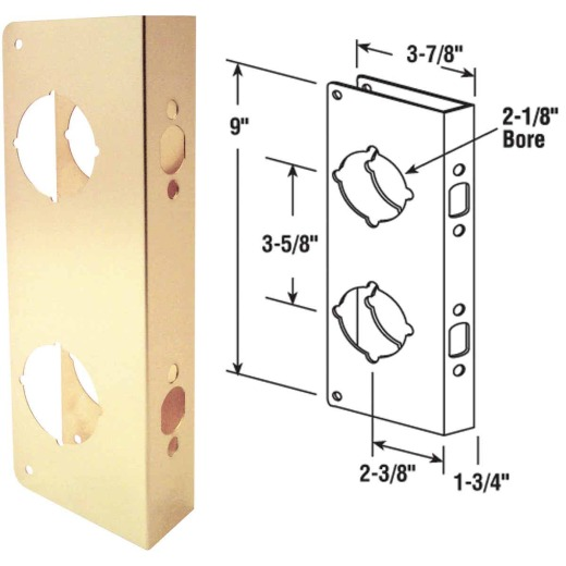 Defender Security 9 In. Brass High Security Door Reinforcer