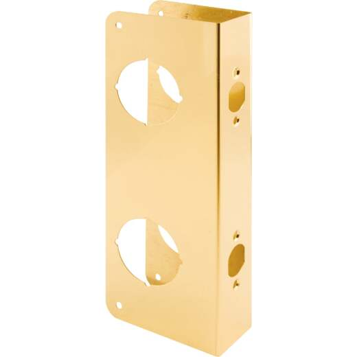 Defender Security 10-7/8 In. Double Hole Brass Combo Lock & Door Reinforcer