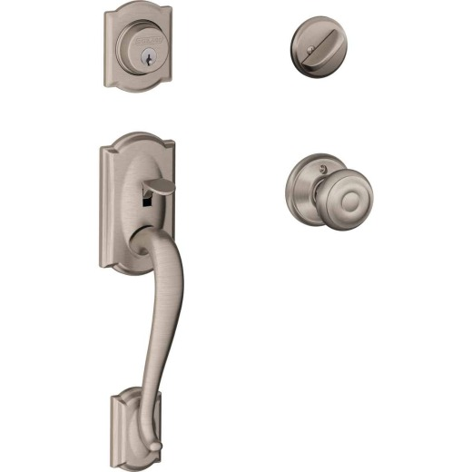 Schlage Satin Nickel Camelot Entry Door Handleset with Single Cylinder Deadbolt and Georgian Knob