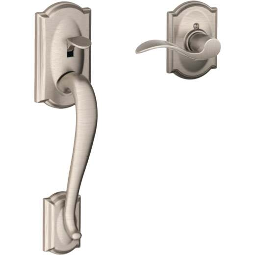 Schlage Camelot Satin Nickel Entry Door Lever Handleset Only