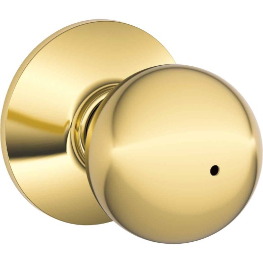 Schlage Orbit Polished Brass Bed & Bath Door Knob