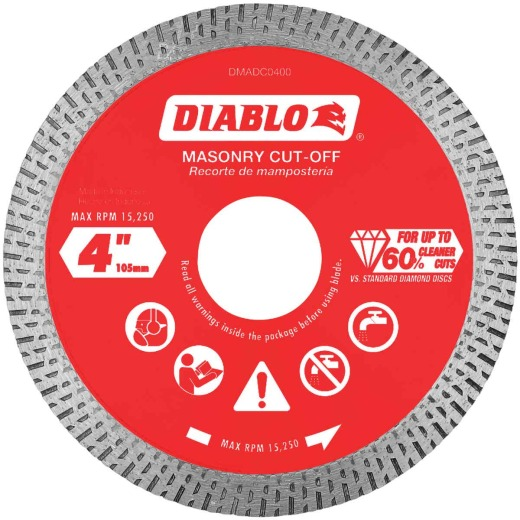 Diablo 4 In. Diamond Continuous Rim Dry/Wet Cut Diamond Blade