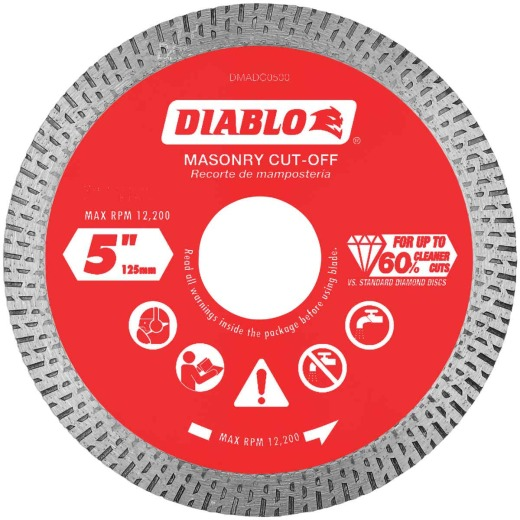 Diablo 5 In. Diamond Continuous Rim Dry/Wet Cut Diamond Blade