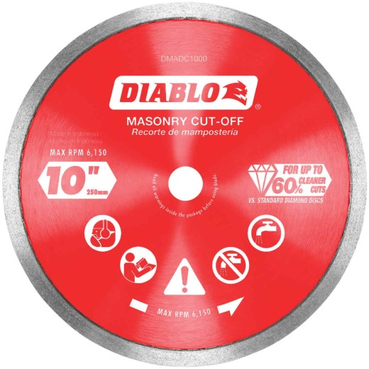 Diablo 10 In. Diamond Continuous Rim Dry/Wet Cut Diamond Blade