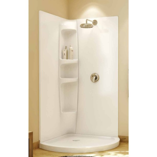 Maax Olympia 2-Piece 36 In. W x 77 In. H x 36 In. D Shower Wall Set in White