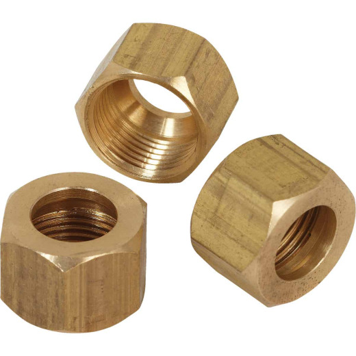 Do it 3/8 In. OD Brass Compression Nut (3-Pack)