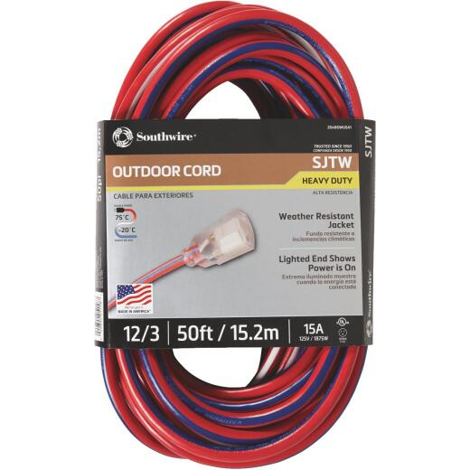 Southwire 50 Ft. 12/3 Indoor/Outdoor Red, White, & Blue Striped Patriotic Extension Cord
