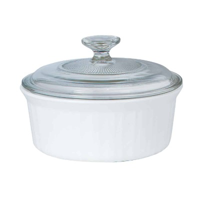 Corningware 1-1/2 Qt. Stoneware French White Round Covered Casserole Dish