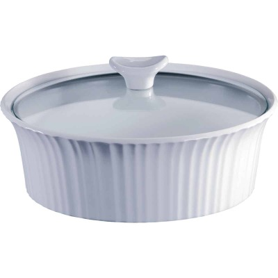 Corningware 2-1/2 Qt. Stoneware French White Round Covered Casserole Dish