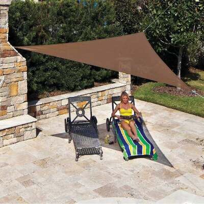 Coolaroo 11 Ft. 10 In Mocha High Density Polyethylene Ready To Hang Shade Sail Canopy