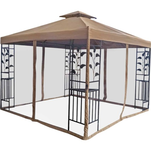 Outdoor Expressions 10 Ft. x 10 Ft. Dark Brown Steel Gazebo