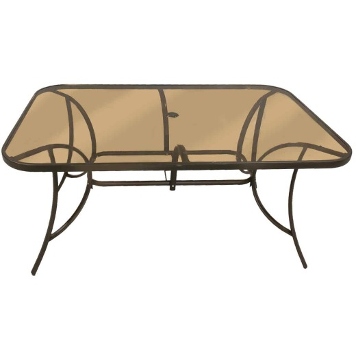Outdoor Expressions Greenville 38 In. W. x 60 In. L. Rectangle Brown Steel Tinted Glass Table