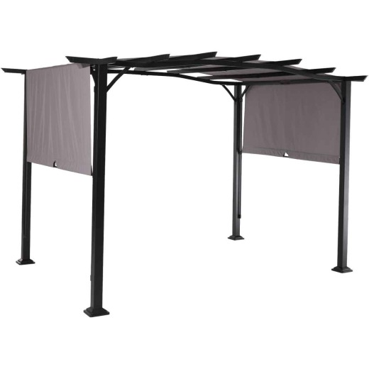 Outdoor Expressions 8.8 Ft. W. x 7.5 Ft. H. x 11.5 Ft. L. Black Steel Pergola