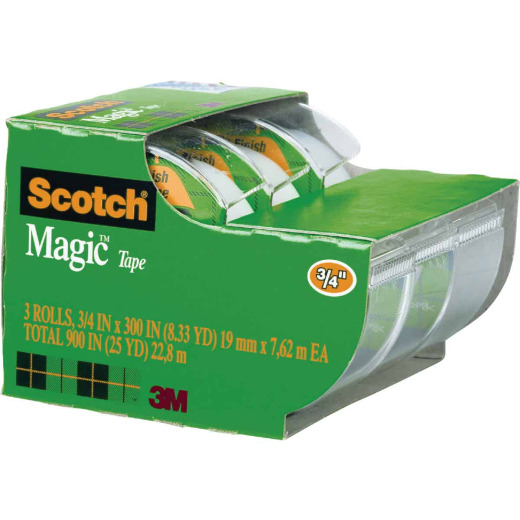 3M Scotch 3/4 In. x 300 In. Magic Transparent Tape (3-Pack)