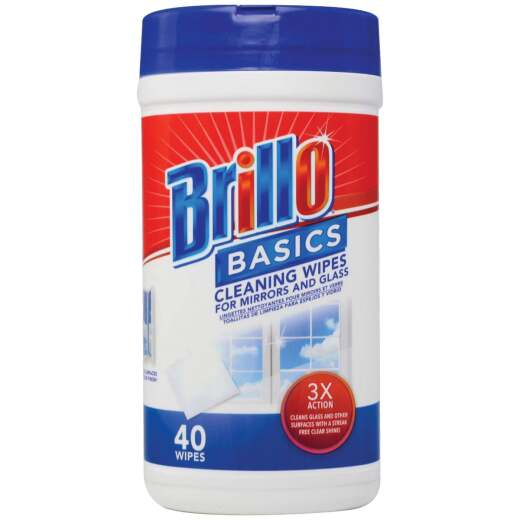Brillo Basics 5.9 In. x 7.9 In. Wipes Glass Cleaning Wipes (40-Pack)